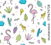 seamless pattern with quirky... | Shutterstock .eps vector #579674728