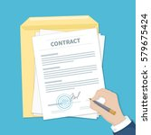 businessman signing a contract. ... | Shutterstock .eps vector #579675424