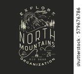 mountain hand drawn emblem... | Shutterstock .eps vector #579676786