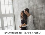 beautiful young couple having a ... | Shutterstock . vector #579677050
