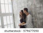 beautiful young couple having a ... | Shutterstock . vector #579677050