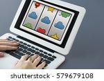 slot machine cloud envelope...   Shutterstock . vector #579679108