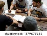 music band rehearsal friendship ... | Shutterstock . vector #579679156