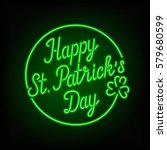 Glowing Neon Sign   Happy St....
