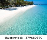 top view of white sandy beach... | Shutterstock . vector #579680890