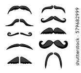 Black different mustache. Vector hand drawn illustration