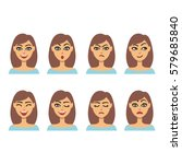 set of woman portraits showing... | Shutterstock .eps vector #579685840