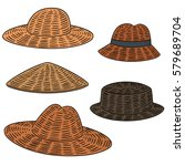 vector set of straw hat | Shutterstock .eps vector #579689704