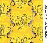 beautiful pattern with bright... | Shutterstock .eps vector #579695509