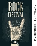 rock and roll sign. hand with... | Shutterstock .eps vector #579706246