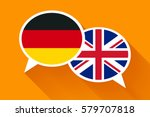 two white speech bubbles with... | Shutterstock .eps vector #579707818