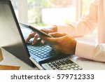 businessman are analyzing a... | Shutterstock . vector #579712333