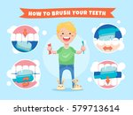 smiling boy holding a... | Shutterstock .eps vector #579713614