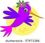hummingbird and hibiscus flower ... | Shutterstock .eps vector #57971386