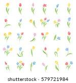 vector set of colored tulips.... | Shutterstock .eps vector #579721984