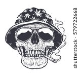 rastaman skull vector art.... | Shutterstock .eps vector #579722668