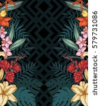 vector tropical leaves and... | Shutterstock .eps vector #579731086