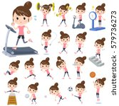 a set of women on exercise and... | Shutterstock .eps vector #579736273