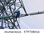 man working at height at high... | Shutterstock . vector #579738016