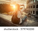 woman tourist selfie with phone ... | Shutterstock . vector #579743200