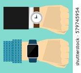 wrist watch on hand of...   Shutterstock .eps vector #579745954