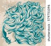 vector illustration face girl... | Shutterstock .eps vector #579751096
