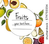 fruits drawn a color line on a... | Shutterstock .eps vector #579755554
