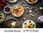 food and ingredients on wooden... | Shutterstock . vector #579757060