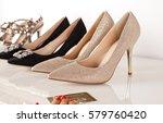 elegant women high heeled shoes.... | Shutterstock . vector #579760420