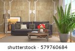 interior with sofa. 3d... | Shutterstock . vector #579760684