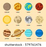 planet icon set. planets with...   Shutterstock .eps vector #579761476