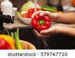 child hands washing fresh... | Shutterstock . vector #579767710