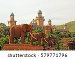 Small photo of SUN CITY, SOUTH AFRICA - JANUARY 03, 2008: Gigantic elephant statues on Bridge of Time in famous resort Lost City in Sun City, South Africa.