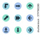 set of 9 simple arrows icons....   Shutterstock .eps vector #579780280