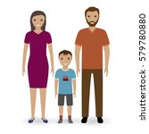 happy young family standing... | Shutterstock .eps vector #579780880
