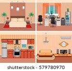 house interior living room ... | Shutterstock .eps vector #579780970