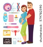young couple during pregnancy... | Shutterstock .eps vector #579782590