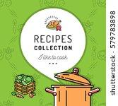 recipe book  cookbook  cover...   Shutterstock .eps vector #579783898