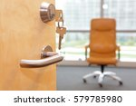 vacancy job. half opened door... | Shutterstock . vector #579785980
