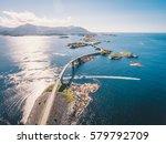 aerial drone shot of stunning... | Shutterstock . vector #579792709