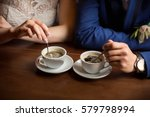cups of coffee for bride and... | Shutterstock . vector #579798994