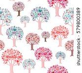 colorful trees with heart... | Shutterstock .eps vector #579800389