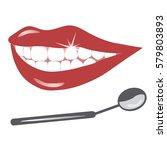 female lips with white teeth.... | Shutterstock .eps vector #579803893