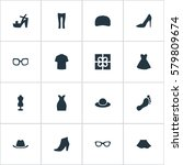 set of 16 simple garments icons....