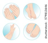 beautiful female hands and feet ... | Shutterstock .eps vector #579813646