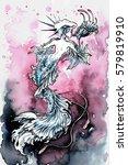 watercolor painting mermaid... | Shutterstock . vector #579819910