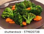 closeup shot of steamed carrots ...   Shutterstock . vector #579820738