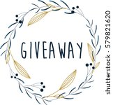 giveaway.  hand drawn herbal... | Shutterstock .eps vector #579821620