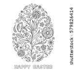 Floral Easter Egg On White...