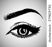 illustration with woman's eye... | Shutterstock .eps vector #579829750